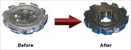 Before and after of indexable tool repair for milling tools